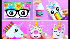 In this video I'll show you how to make 15 super cool and fun unicorn-inspired school projects: nerdy unicorn pencil case, rainbow puke notebook, unicorn Sta. Easy Crafts For Kids, Christmas Crafts For Kids, Cute Crafts, Christmas Diy, Unicorn Pencil Case, Back To School Crafts, Glitter Crafts, Baby Unicorn, Diy School Supplies