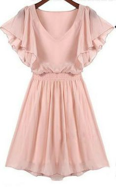 Plissiertes Kleid mit Rüschenärmeln, rosa.