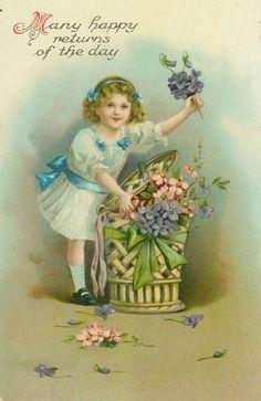 Darn Pretty EAS - Victorian Girl Stuffs Flowers in Wicker Basket