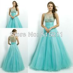 Modest Beaded High Neck See Through Back Organza Blue Prom Dresses With Sleeves 2014 Hot Sale Evening Gowns