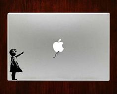 Banksy girl baloon with Macbook Decal Stickers