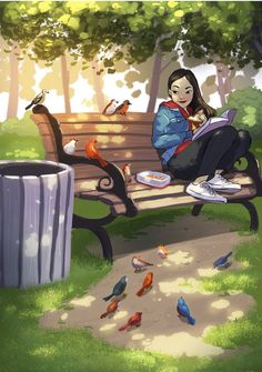 The Happiness of Living Alone Captured by the Illustrator Yaoyao Ma Van As. The Happiness of Living Alone Captured by the Illustrator Yaoyao Ma Van As. Art Anime Fille, Anime Art Girl, Cartoon Kunst, Cartoon Art, Cartoon Illustrations, Fantasy Kunst, Fantasy Art, Illustrator, Art Mignon