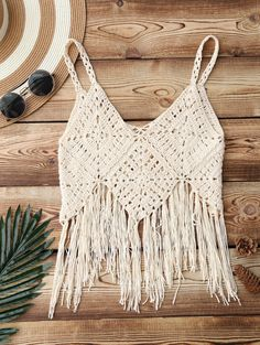 Fringed Crochet Bikini Top - APRICOT ONE SIZE