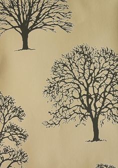 Richmond Wallpaper Tree silouettes in charcoal outlined in white on a beige background