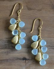 Aqua Chalcedony and Gold Earrings