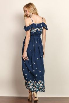 Beautiful Womens cold shoulder Maxi Dress in Navy