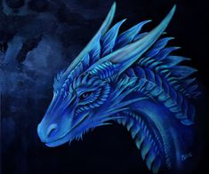 e926 ambiguous_gender blue_eyes blue_scales dragon feral headshot horn isvoc scales smile traditional_media_(artwork) watercolor_(artwork)