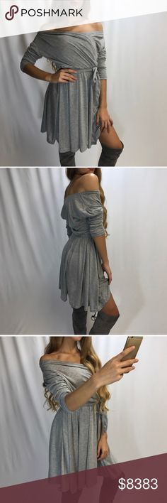 Vacation Getaway Deutiobh Off Shoulder Mini Dress Complete the look with over the knee boots for sale in my closet. This is my photo/model, actual item shown. Cozy cotton poly blend off shoulder mini dress. Dark gray & Black has sold out. USA sizes. Item is new, direct from designer without tags. Birthday Anniversary gift present. Vacation Vegas cruise date night wedding pageant poolside beach lounging date night Vegas festival spring summer fall winter dress cover up🔻IF YOU LIKE MY ITEMS…