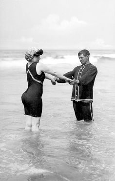 1900: Bathing suit, about 1900. Victorian Era Beach Life: 52 Photos of Lust, Love And Lace On The Sands - Flashbak