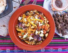 Couscous met gegrilde aubergine, cherrytomaat, paprika, uit en feta
