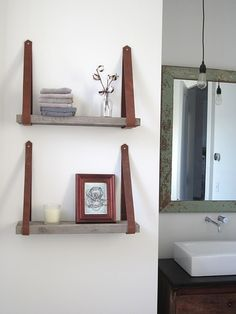 recycled wood & leather shelving, made by me