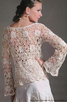 Crocheted blouse with diagrams and stitch charts