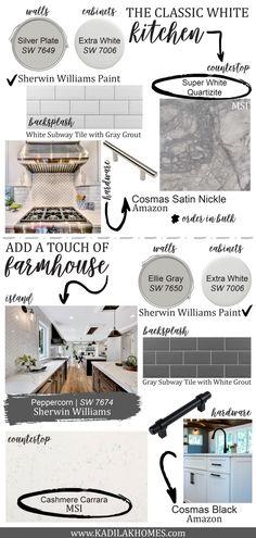 The Classic White Kitchen Mood Board & Design Guide by Kadilak Homes Kitchen Redo, Home Decor Kitchen, Kitchen Design, Kitchen Ideas, 10x10 Kitchen, Kitchen Facelift, Kitchen Board, Island Kitchen, Kitchen Colors