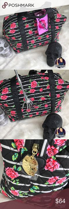 Betsey Johnson rose large weekender bag THE perfect bag ! Large and in charge . Beautiful stripes wit rose buds on top . Striped inside . One zipper pocket inside. Two large straps no cross body . Pink plastic luv Betsey bag included Betsey Johnson Bags Travel Bags