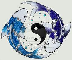 blue dark blue/purple/white Yin/Yang drawings of koi fish Koi Fish Drawing, Koi Fish Tattoo, Fish Drawings, Art Drawings, Yen Yang, Ying Y Yang, Yin Yang Koi, Yin Yang Tattoos, Pisces Tattoos