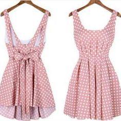 Cute polka dot backless dress