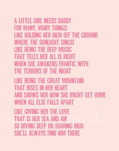 SALE A little girl needs Daddy quote printable poster by sophieandlu on Etsy