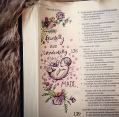 Psalm 139, fearfully and wonderfully made, bible journaling, Christian art, bible doodle