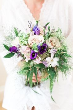 Purple Lilac Bouquet Flowers Bride Bridal Foliage Greenery Fresh Pretty Humanist Wedding http://summerlilystudio.com/