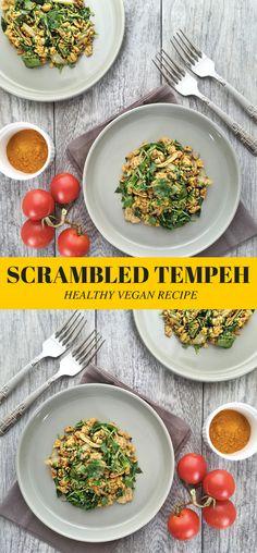 Vegan Tempeh breakfast recipe! Easy scrambe perfect for breakfast. High in fiber. Tempeh stir fry with gluten free soy sauce