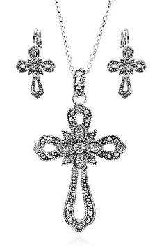 3-D Belt Company Silver Filigree Crystal Cross Jewelry Set