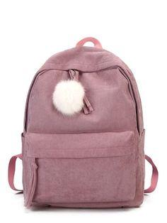 Contrast Pom Pom Corduroy Backpack Mochila com pompom camurça Source by simonebenvindo Bags Cute Backpacks For School, Cute School Bags, Stylish Backpacks, Girl Backpacks, Backpack Online, Backpack Bags, Leather Backpack, Bags For Teens, Girls Bags