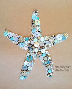 8x10 Button Art Starfish Button Art & Swarovski by BellePapiers #buttonart #buttons #swarovski #handmade #crafts #diy #art #starfish #beachhousedecor #estrellademar #beach #seastar #boton #botones