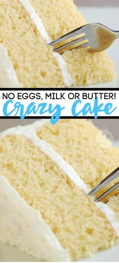Vanilla Crazy Cake with no eggs, cake or butter! This easy recipe is perfect for your family and friends with allergies. Save this recipe for later! cake recipes Vanilla Crazy Cake You Can Make With No Eggs, Milk, Or Butter Desserts Végétaliens, Delicious Desserts, Dessert Recipes, Yummy Food, Desserts With No Eggs, Vanilla Desserts, Vanilla Frosting, Egg Free Desserts, Vanilla Recipes
