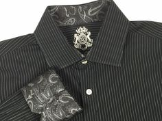 Mens English Laundry Sz 16 34/35 Paisley Flip Contrast Cuff Black Casual Shirt #EnglishLaundry #ButtonFront