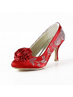 Floral Rhinestone Red Satin Wedding Pumps with Flowers - USD $85.99