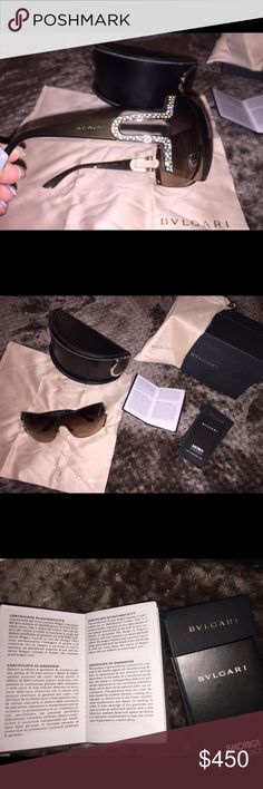 🌟Brand New 100% Authentic Bvlgari Sunglasses🌟 Brand new authentic Bvlgari sunglasses. Never worn. 🔶COMES WITH CERTIFICATE OF AUTHENTICITY🔶The Bvlgari 6038B has a stylish visor frame that features 💎Swarovski crystals💎 beautifully set into impressive, uniquely designed arms. Price has been marked down but put in an offer if you're interested! Thanks💖 bvlgari Accessories Sunglasses