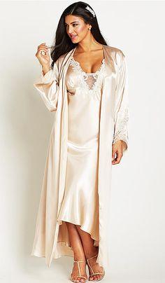 ef021108e08 Stella Charmeuse Nightgown w Lace Appliqué Trim (Robe Available) (Small-3X)