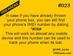 1000 HACKS — How to find IMEI number of your mobile.