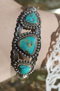 Vintage Navajo Bell Trading Post Sterling Silver Turquoise Bracelet