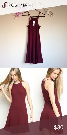 Maroon Abigail Dress Brandy Melville burgundy high neck dress. Square cut neckline. Soft ribbed texture. ️️Ⓜ️ Brandy Melville Dresses