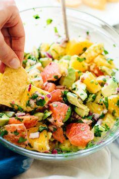 """Vegan citrus """"ceviche"""" recipe featuring colorful grapefruit, orange and avocado."""