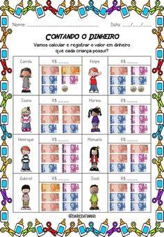 Pedagógiccos: Sistema Monetário Brasileiro: Atividades Money Activities, Interactive Activities, John Kennedy Jr, School Subjects, Math Worksheets, Pre School, Life Skills, Professor, Homeschool