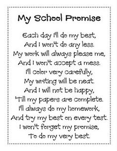 My School Promise poem
