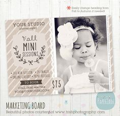 Fall/Autumn Marketing Board Template IW005 from Paper Lark Designs #photography #templates #minisessions #fall #autumn #halloween