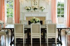 White dining room with salmon curtains, khaki gingham chair backs, simple white hydrangeas - Terry Sullivan Interiors