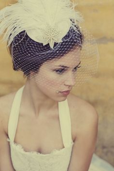 Ivory White Birdcage Veil, Feather Fascinator, Silver Beaded Star, Head Piece, Bridal, Woman's Hat, Unique Bridal,  Batcakes Couture