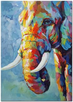 Genuine Hand Painted Impressionist Elephant Oil Painting On Canvas Contemporary Multi colore. : Genuine Hand Painted Impressionist Elephant Oil Painting On Canvas Contemporary Multi colored Safari Animal Fine Art WHAT BRILLIANT COLORS, Animal Art Bril Simple Oil Painting, Oil Painting On Canvas, Canvas Art, Framed Canvas, Painting Tips, Abstract Paintings, Painting Art, Landscape Oil Paintings, Watercolor Painting