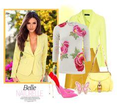 """Yellow Blazer"" by janie-xox ❤ liked on Polyvore featuring Venus, Polo Ralph Lauren, Naeem Khan, Casadei, Miu Miu, Luna Skye and blazer"