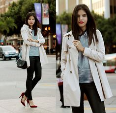 Sheinside Trench, Express Striped T Shirt & Leather Pants, Andrea Red Pumps