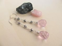Pink and grey earrings. Crystal earrings. Bridal earrings