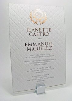 Letterpress Wedding Invitations Luxury Gold And White, A Set Of 50 by luxuryweddinvitation on Etsy: