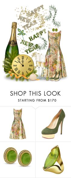 """""""Happy New Year"""" by joy2thahworld ❤ liked on Polyvore featuring Adrianna Papell, Charlotte Olympia, Forzieri, Love Moschino, partydress, NewYearsEve, greenery, 2017 and happynewyear"""
