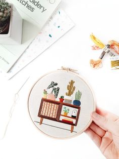 This listing is for a Physical Embroidery Kit. It is a Level 3 pattern (see below for more informati Contemporary Embroidery, Modern Embroidery, Embroidery Hoop Art, Cross Stitch Embroidery, Embroidery Patterns, Modern Sideboard, Simple Doodles, Embroidery For Beginners, Needlework