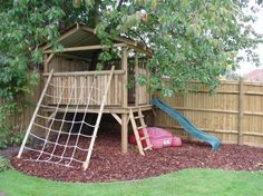 Astounding Garden Playhouses for Children Using Amazing Colors : Captivating Garden Ideas For Kids Wooden Garden Playhouse Small Wooden Staircase Wood Floors And Also Wooden  Wooden Fence
