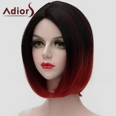 Adiors Stunning Black Red Gradient Short Bob Style Straight Synthetic Universal Wig #CLICK! #clothing, #shoes, #jewelry, #women, #men, #hats, #watches